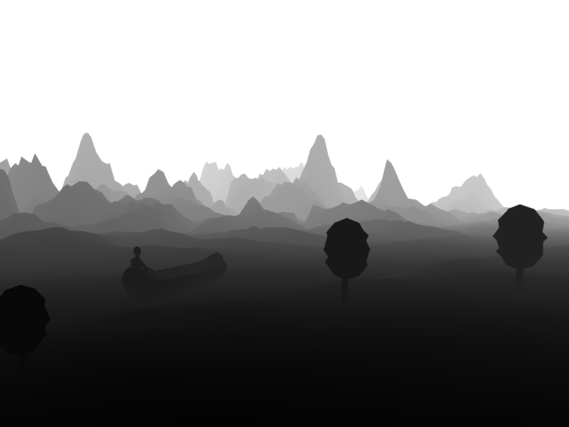 The Boatsman black and white grayscale low poly landscape mountains illustration render 3d music tree river boat