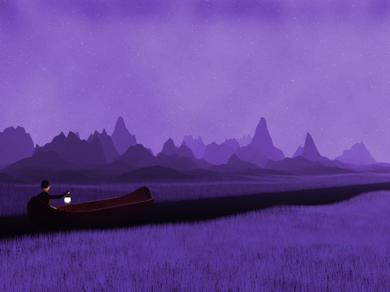 Boat on a River boat river tree dark 3d render illustration mountains landscape low poly mist lantern