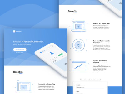 Landing Page - Create a Channel clean interface landing page homepage line icon illustration icons website ux ui web