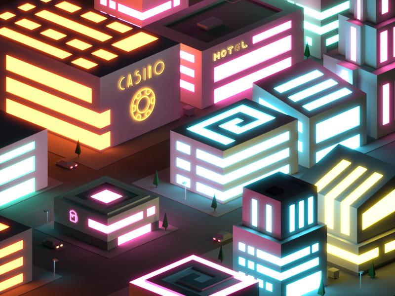 Neon City futuristic cyberpunk game lights low poly illustration isometric casino vegas neon night city