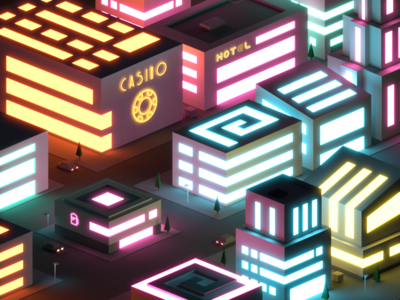 Neon City futuristic cyberpunk game lights low poly illustration isometric casino vegas neon night city