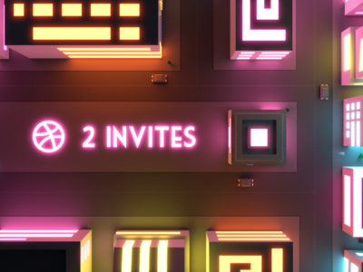 Invite Giveaway illustration low poly giveaway light retro night city neon cyberpunk invitation invites invite