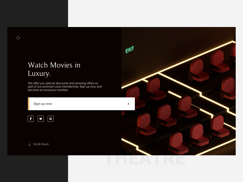 Theatre - Premium Membership Landing Page fancy dark luxury isometric low poly 3d split fold ux interface ui movie theatre