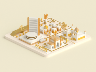 Mumbai candy texture city 3d isometric low poly building mumbai india