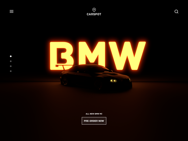 Landing Page - Car Dealership [Concept] futuristic minimal clean ui website dark render landing page 3d neon car