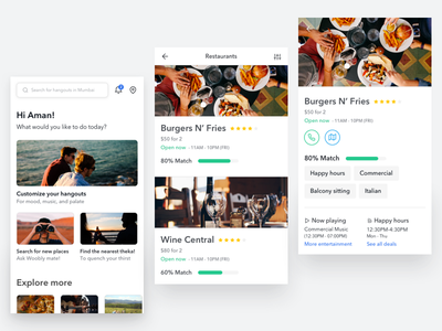 Hangout recommendation app android mobile ux images whitespace minimal white clean interface ui ui kit app