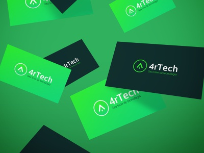 4rTech Business Card Concept Mockup brand identity development business coding programmer microsoft developer card cartão de visita business card tech green logotype logo brand