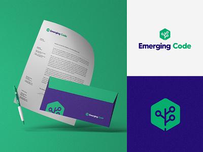 Rebrand - Emerging Code architecture tech business code leaf tree green developer branding logotipo icon logotype brand logo