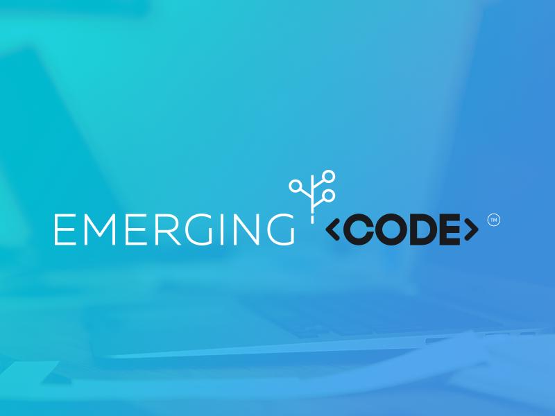 Emerging Code - Build the Future! ® Brand microsoft logo blue digital developer school brand