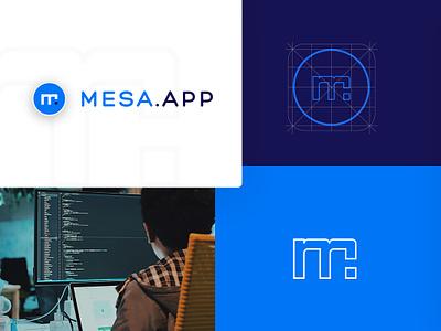 Mesa.app - Brand Identity logotipo app grid mark letter m azul blue design icon logotype logo brand