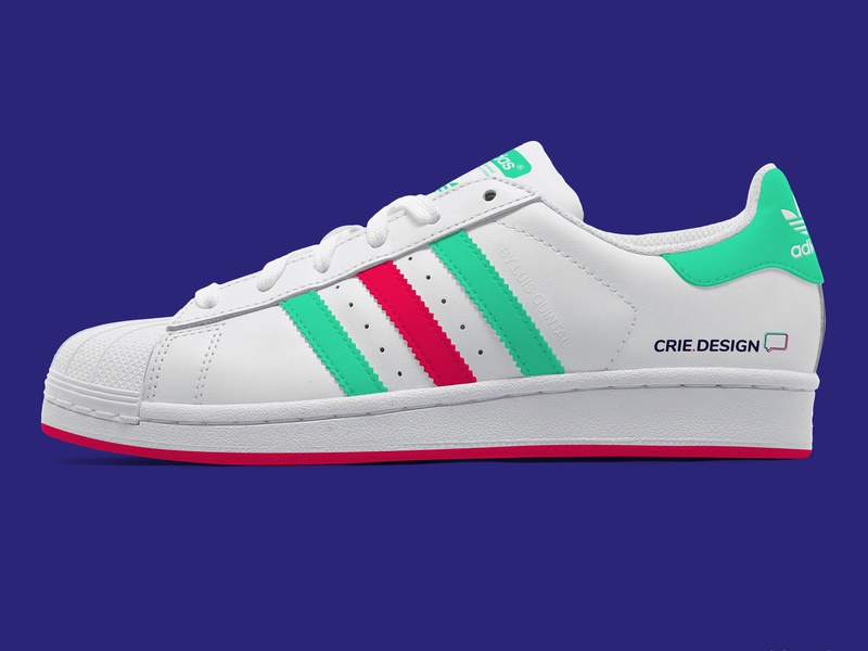 Adidas Superstar by crie.design icon marca moda fashion shoe shoes sneakers adidas verde green vermelho red colors typogaphy logotipo logotype logo brand identity design brand