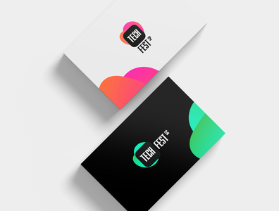 Tech Fest - Business card cards networking events design brand and identity branding developer gradient brand identity logotipo logotype logo brand