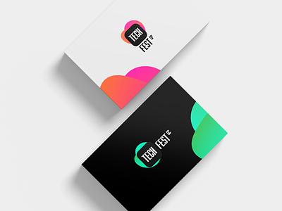 Tech Fest - Business card cards networking events design brand and identity branding developer gradient brand identity logotipo logotype logo brand