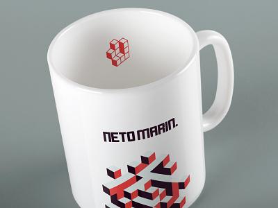 Neto Marin - Mug Concept brand pattern logotipo microsoft branding developer coffee tetris blocks bricks orange design logo mug