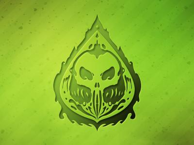 Chemical Storm logo logo branding skull green