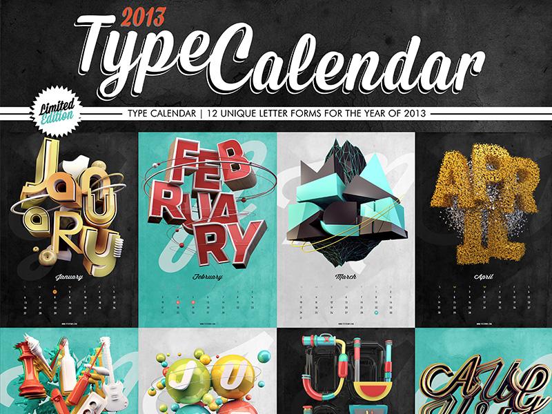 Type Calendar! 2013 calendar typography graphic design print