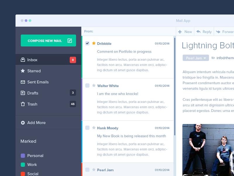 Mail App Mockup clean ui design minimal flat mac ios mail email metro user interface freebie