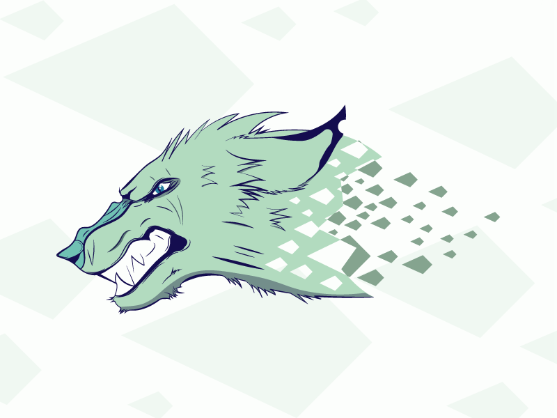 Wolf blue geometric wolf practice challenge daily artwork challenge 5 colours vector simple minimal