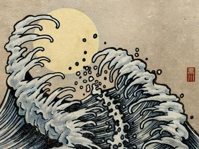Waves 02 octopus wave japanese drawing sketchbook ink pen