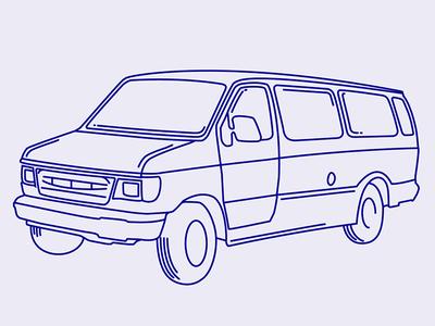 Get In The Van illustration svg van thick lines