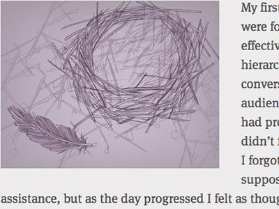 Leaving the Nest cognition illustration monochrome purple feather nest