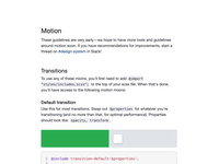 Motion guidelines systems design system move hover animated transition motion