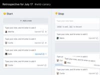 Start, stop, continue figma web columns kanban continue stop start notes order drag hover cards board