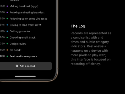 The Log mobile ios category categorization tracking time list data log