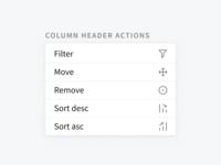 Column header actions