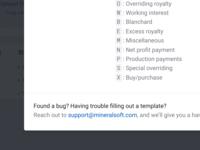 Template key modal