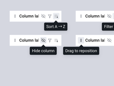 Table peripherals table hover column headers headers tooltips pagination controls adjustments cells buttons icons sort filter hide reposition