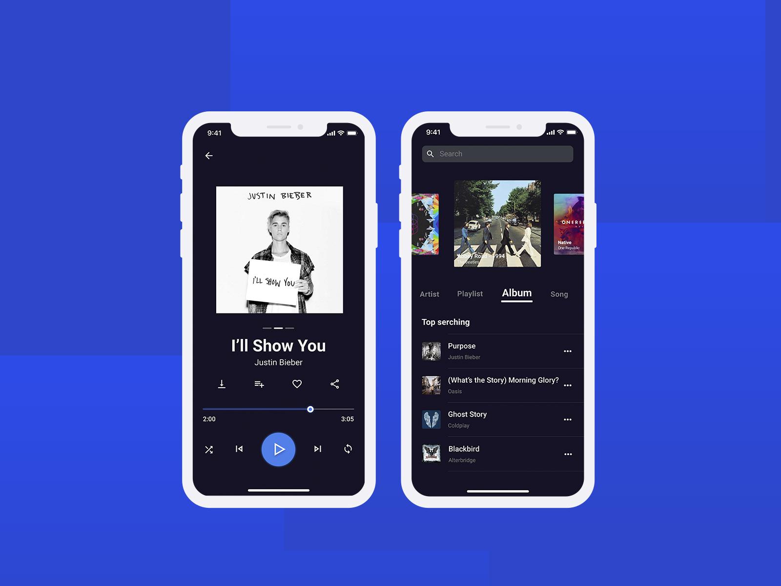 Free Music Player App UI Free PSD at FreePSD.cc