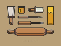 Lithography and Carpenter Tools Icon