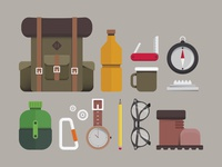 Hiking Flat Icon Set