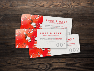 Rube & Rake ticket design fall leaves autumn music gig show band ticket tickets