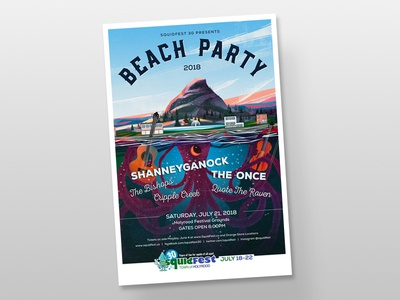 SquidFest 30 Beach Party Poster beach concert party bands folk ocean town festival music squid poster