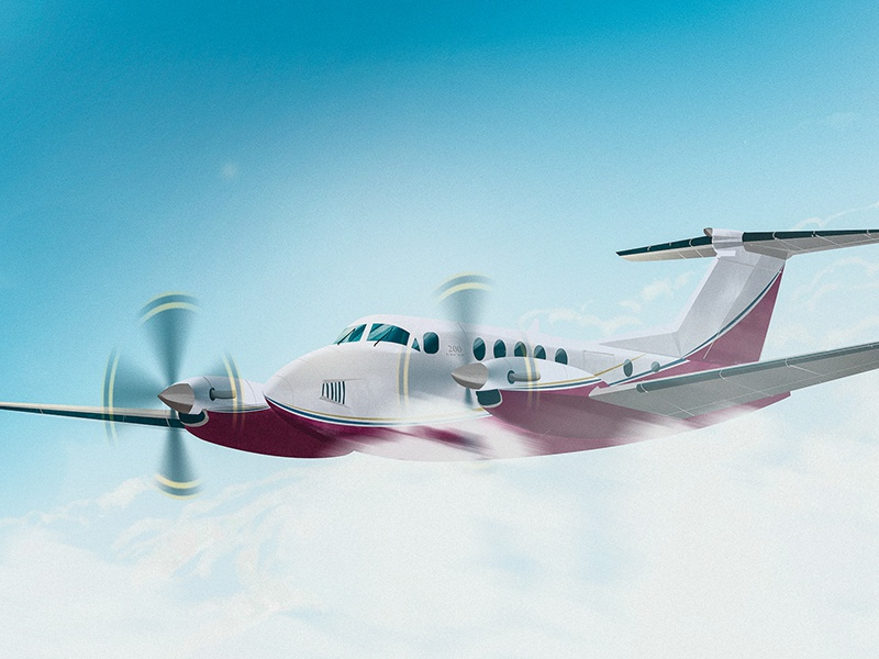 King Air B200 aviation charter private jet illustration airplane aircraft