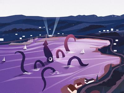 Squidfest 31 - Beach Party newfoundland illustration festival concert party sailing ocean beach party squid