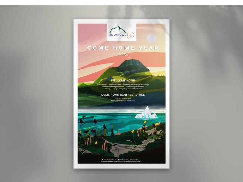 Come Home Year landscape illustration poster design ocean town canada illustration newfoundland