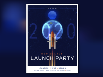2020 Launch Party future aviation aircraft airplane invitation poster party launch galaxy universe planet rocket dash 8 space