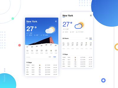Weather App 设计 ux 颜色 ui