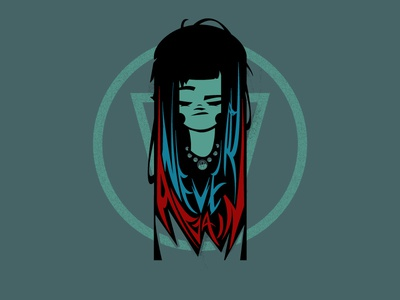 Never Again vector typography girl illustration graphic