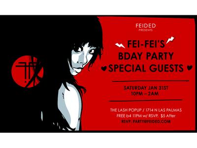 Fei fei bday web flyer fei fei feided party flyer vector illustration red