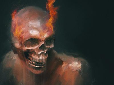 HR photomanipulation oil skull orange fire painting goth horror dark smudge photoshop