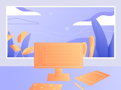 Desk design illustration vector illustration vector window plants sky remote view computer workspace desk
