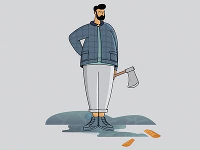 Lumberjack style man axe trees 2danimation gif vector character illustrator 2d character lumberjack illustration 2d
