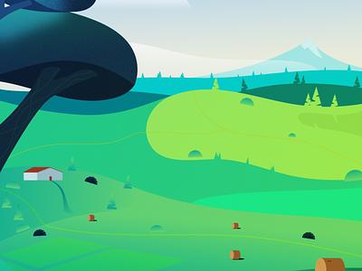 Landscape illustration house barn illustrator vector 2d farmer field green trees grass landscape