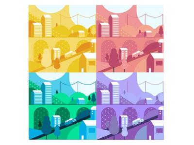 Colour Town simple illustrator trees symmetry pattern landscape city cars bridge town colourful