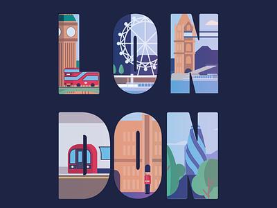 London typogaphy travel bus underground vector city london eye london