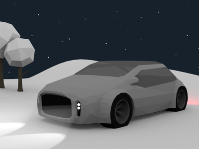 Low Poly Car snow winter lighting car 3d vector low poly blender